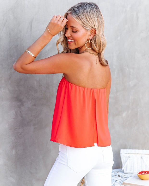 Dixie Strapless Top - Bright Coral view 2