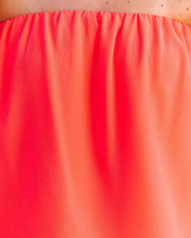 Dixie Strapless Top - Bright Coral view 4