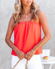 Dixie Strapless Top - Bright Coral view 7