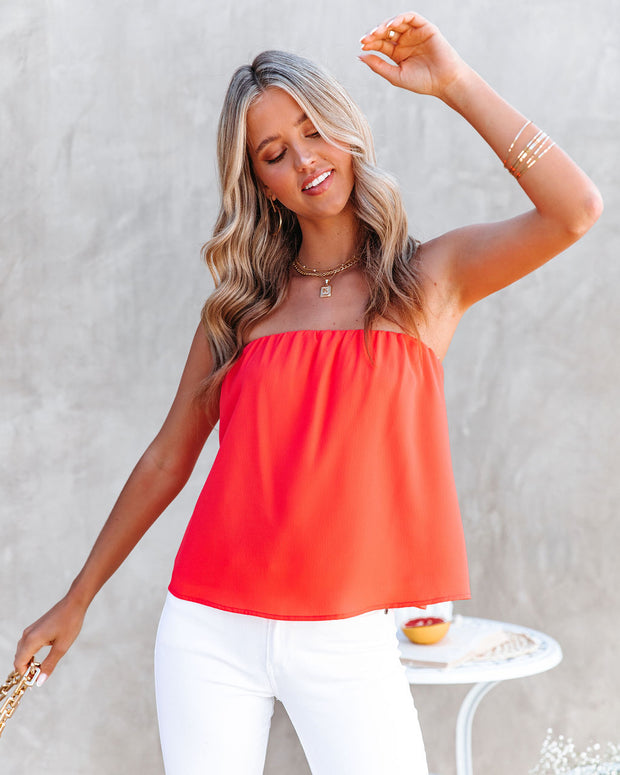 Dixie Strapless Top - Bright Coral view 1