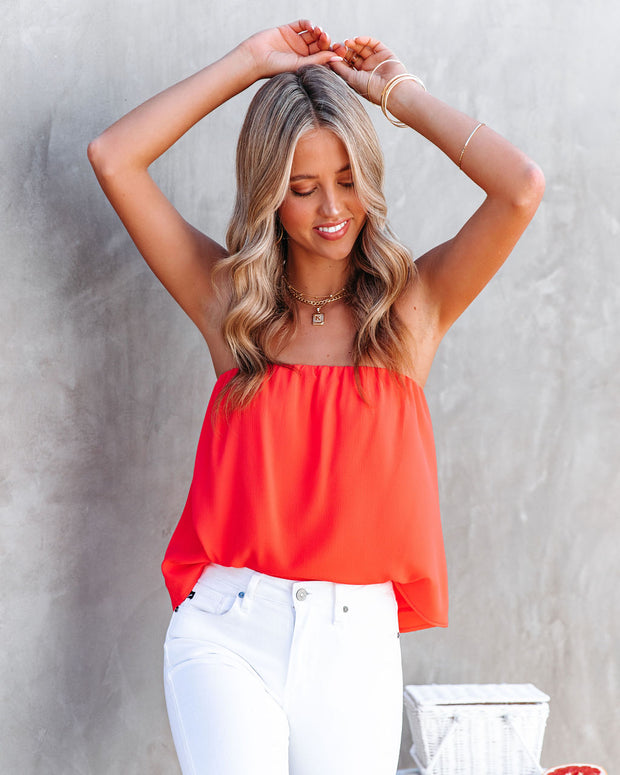 Dixie Strapless Top - Bright Coral view 11