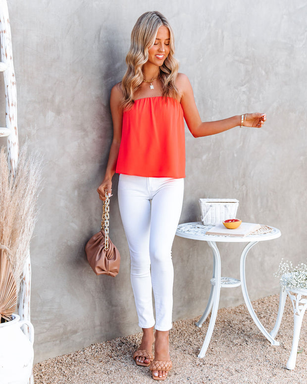 Dixie Strapless Top - Bright Coral view 5