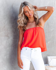 Dixie Strapless Top - Bright Coral view 9