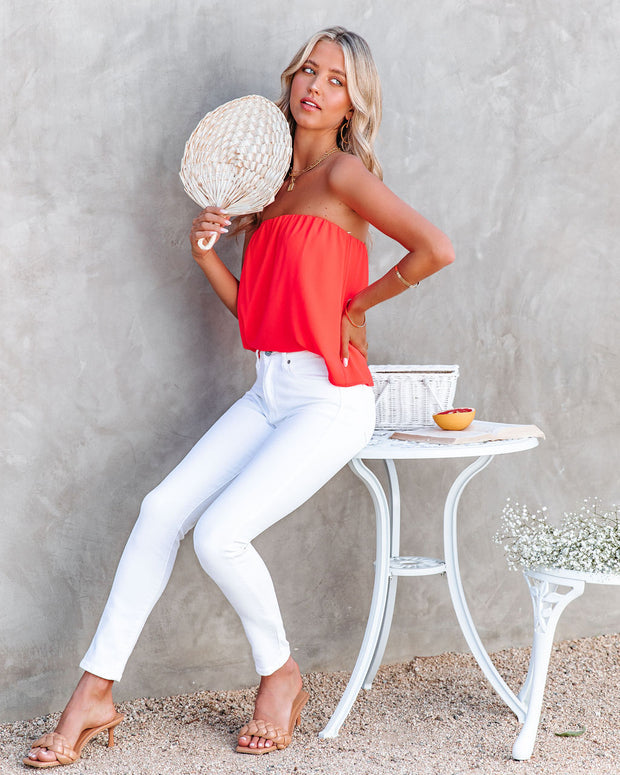 Dixie Strapless Top - Bright Coral view 6