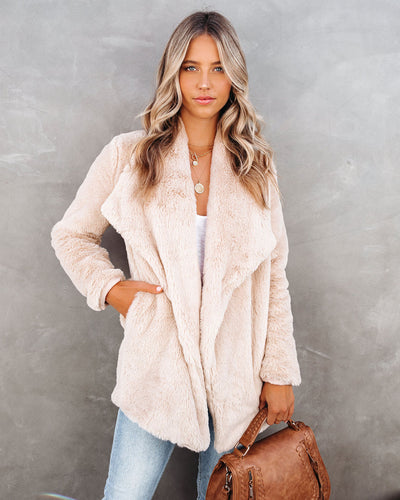 Do The Trick Pocketed Faux Fur Drape Coat