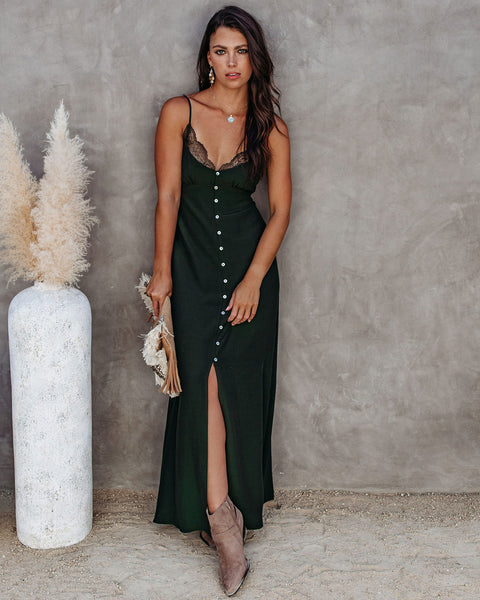 Dream Come True Slip Maxi Dress - Forest Green