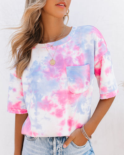 Dream In Tie Dye Cotton High Low Pocket Top - Pink/ Blue - FINAL SALE