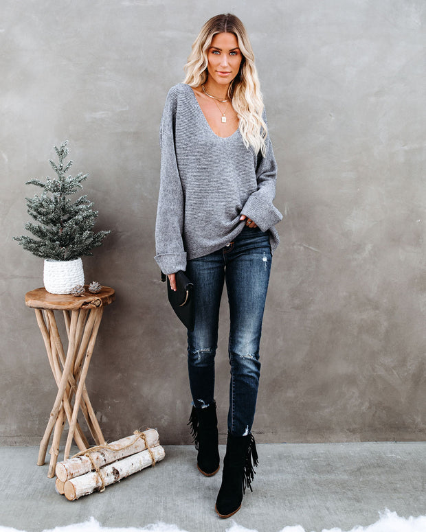 Thrill Ribbed Knit Sweater - Heather Charcoal view 1
