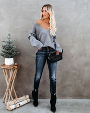 Thrill Ribbed Knit Sweater - Heather Charcoal view 8
