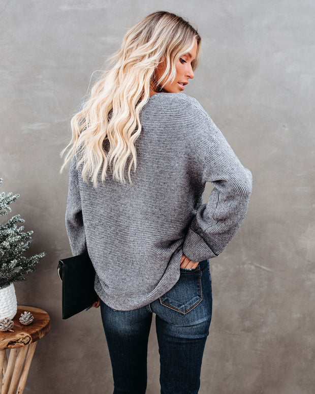 Thrill Ribbed Knit Sweater - Heather Charcoal view 2