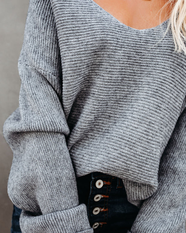 Thrill Ribbed Knit Sweater - Heather Charcoal view 4
