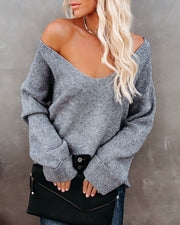 Thrill Ribbed Knit Sweater - Heather Charcoal view 3