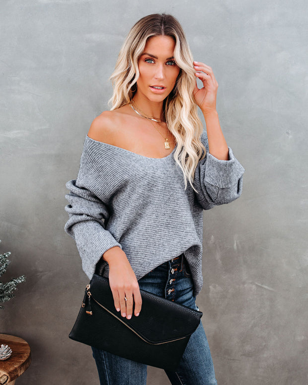 Thrill Ribbed Knit Sweater - Heather Charcoal view 10