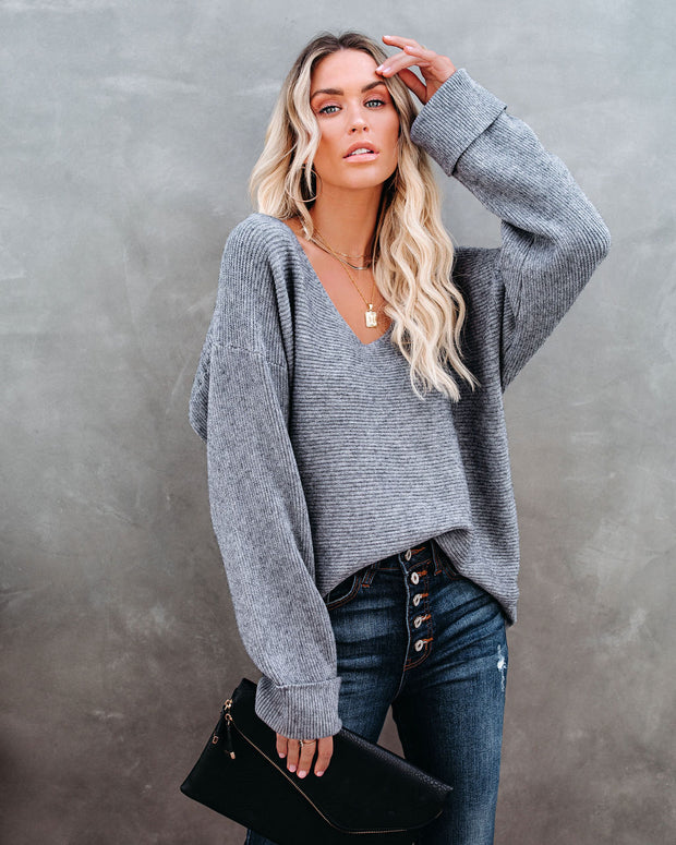 Thrill Ribbed Knit Sweater - Heather Charcoal view 11
