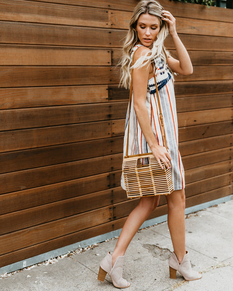 Drift Away Cotton Embroidered Fringe Dress
