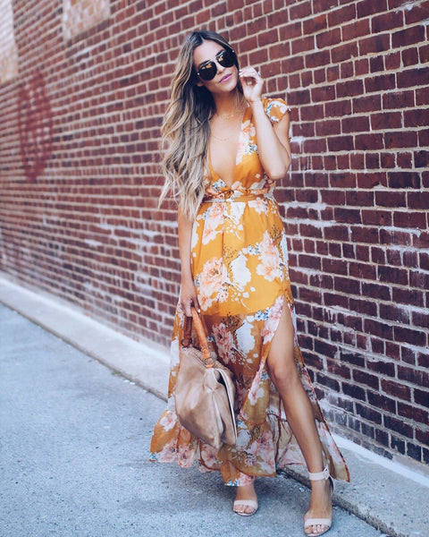 Chiffon Rose Ruffle Maxi Dress - Mustard - FINAL SALE