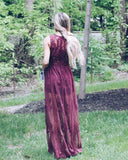 Trysta Lace Maxi Dress - Burgundy - FINAL SALE