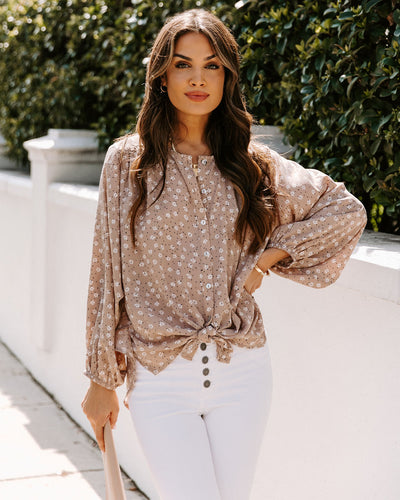 Derry Floral Button Down Tie Blouse