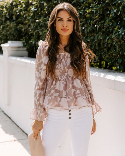 Camille Smocked Floral Textured Blouse