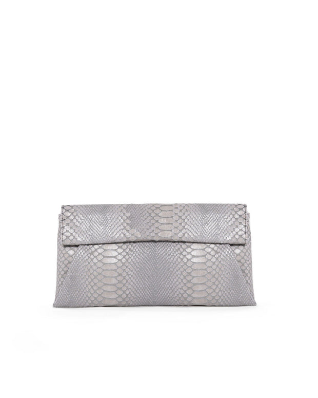 Emilia Snake Embossed Crossbody Clutch - Grey view 1