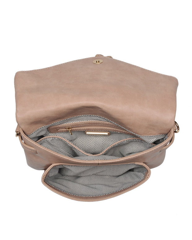 Erin Faux Leather Crossbody Bag - Almond view 4