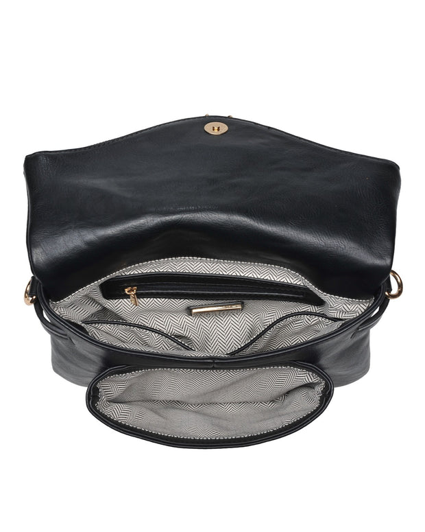 Erin Faux Leather Crossbody Bag - Black view 4