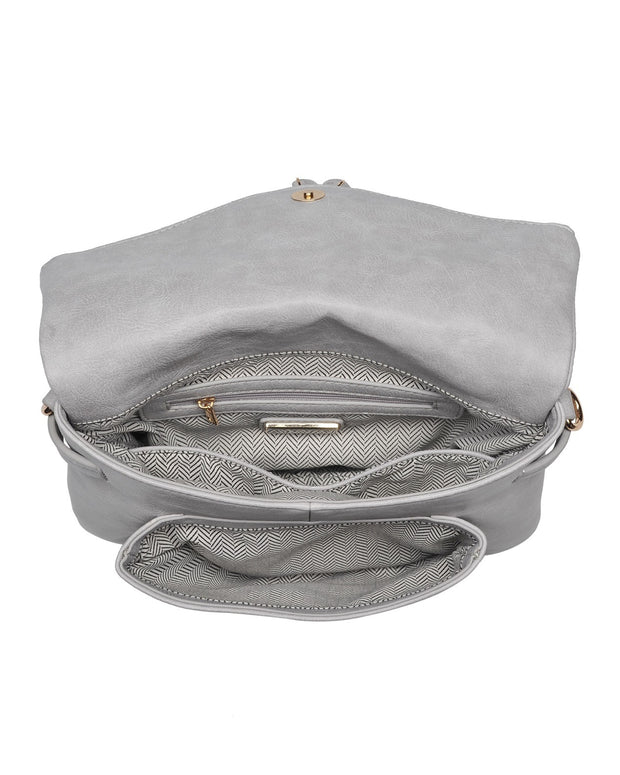 Erin Faux Leather Crossbody Bag - Grey view 4