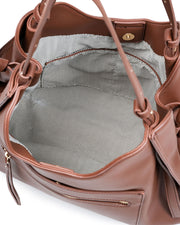 Etta Faux Leather Shoulder Bag - Chocolate view 4