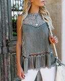 Evangelista Lace Tank - Charcoal