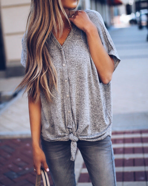 Ready To Go Button Down Tie Top - Heather Grey