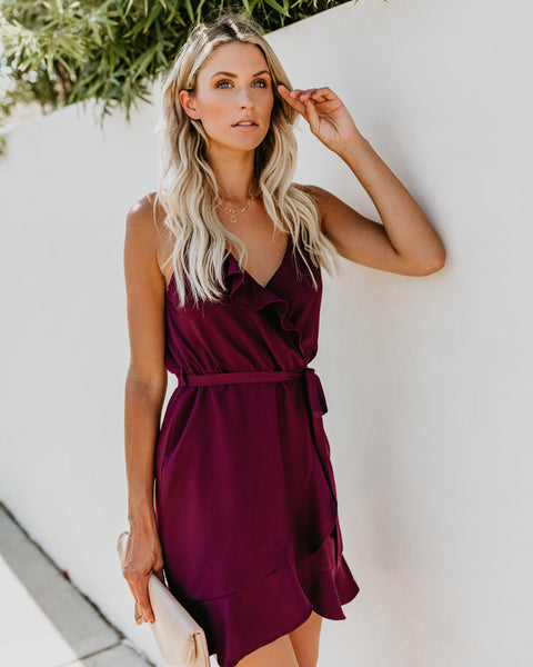 Falling For You Ruffle Wrap Dress - Eggplant