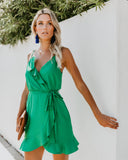 Falling For You Ruffle Wrap Dress - Emerald