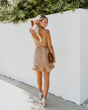 Falling For You Ruffle Wrap Dress - Taupe