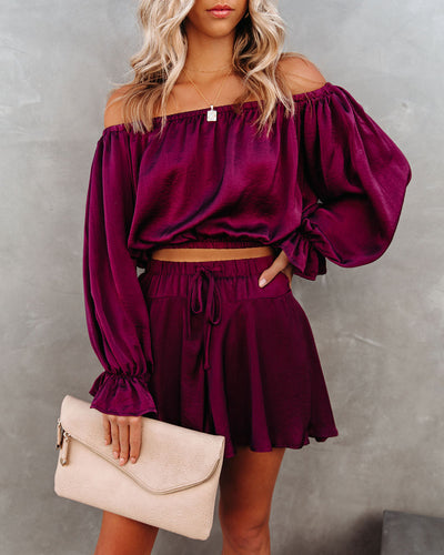 Figure Skate Satin Off The Shoulder Crop Blouse