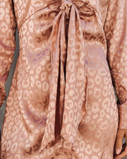 First Kiss Satin Embossed Leopard Tunic - Bronze