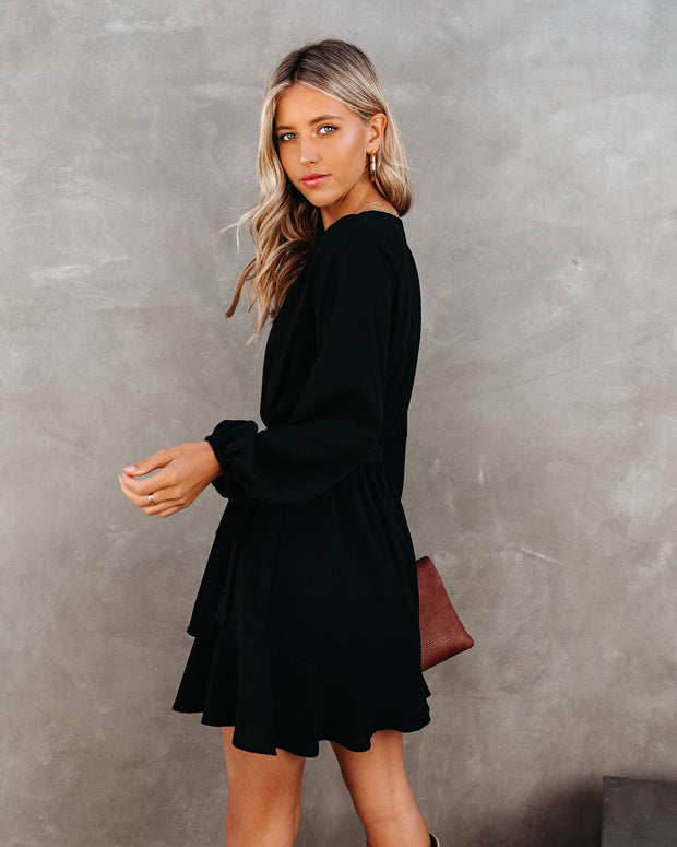 Glad I Found You Ruffle Dress - Black view 2