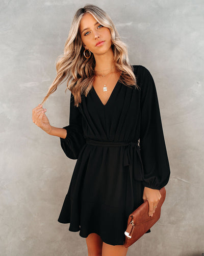 Glad I Found You Ruffle Dress - Black