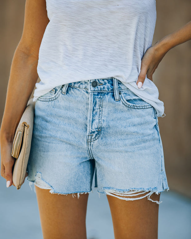 Elena High Rise Distressed Denim Mom Shorts view 8