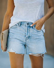Elena High Rise Distressed Denim Mom Shorts view 10