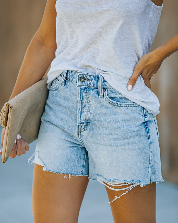 Elena High Rise Distressed Denim Mom Shorts view 6