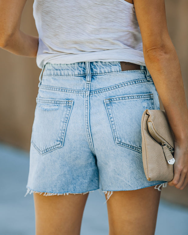Elena High Rise Distressed Denim Mom Shorts view 2