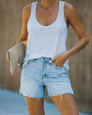 Elena High Rise Distressed Denim Mom Shorts view 5