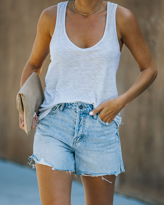 Elena High Rise Distressed Denim Mom Shorts view 9