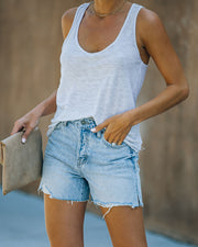 Elena High Rise Distressed Denim Mom Shorts view 7