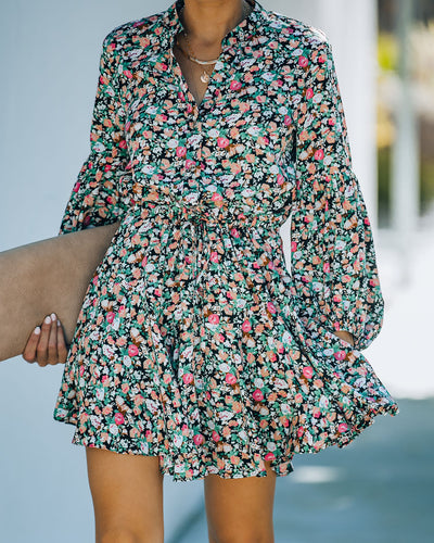 Balvin Floral Balloon Sleeve Button Down Dress