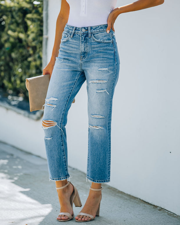 Beverly High Rise Distressed Denim view 1