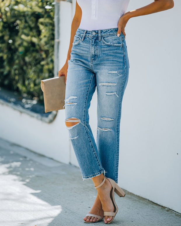 Beverly High Rise Distressed Denim view 6