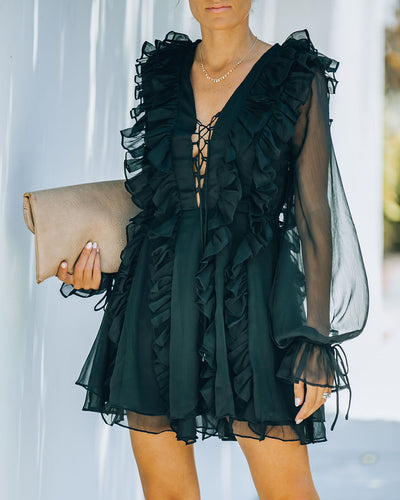 For Forever Chiffon Ruffle Mini Dress