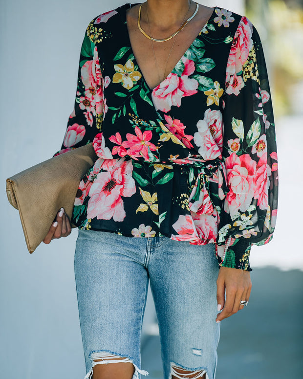 Send My Love Floral Smocked Peplum Blouse - FINAL SALE view 5