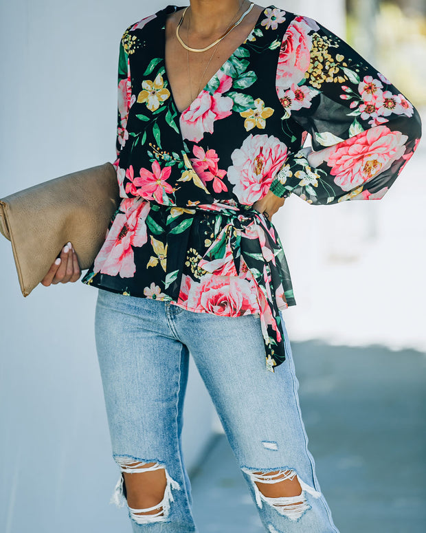 Send My Love Floral Smocked Peplum Blouse - FINAL SALE view 7